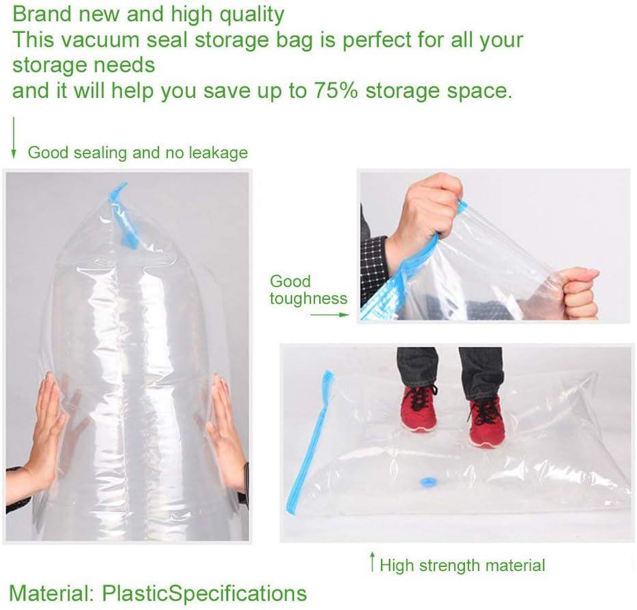 Amerryllis Plastic Transparent+Blue Travel Package Storage Bag Large Space Saver Saving Storage Vacuum Seal Compressed Travel Organizer