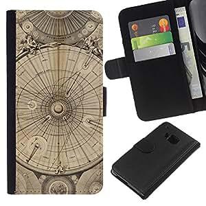 KLONGSHOP // Tirón de la caja Cartera de cuero con ranuras para tarjetas - Ingeniería Dibujo Pergamino - HTC One M7 //