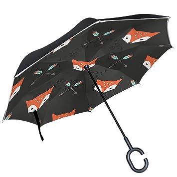 ALAZA rojo flecha de plumas de cabeza de zorro negro paraguas invertido doble capa resistente al