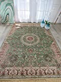 Stunning Green Silk Rug Persian Area Rugs Living Room Green 7x10 Rug Dining Room Olive 6x9 Floral Shiny Soft Persian Carpet