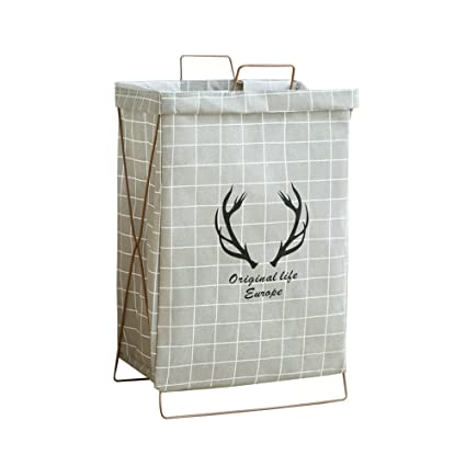 Amazon.com: kaiyu cesta de la colada plegable algodón y lino ...