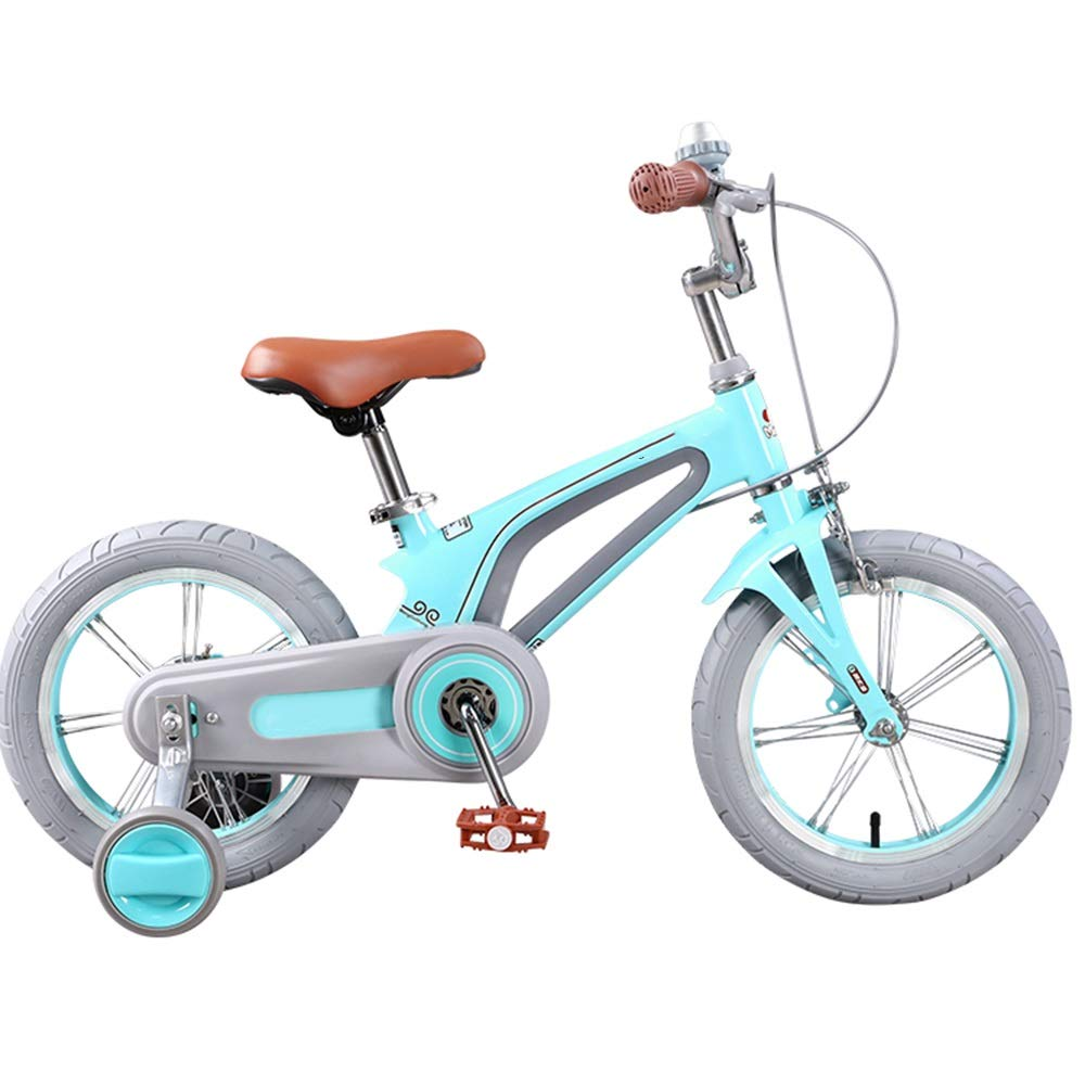 Axdwfd 子ども用自転車 キッズバイク子供の自転車男の子と女の子のサイクリング、14用のトレーニングホイール16インチバイク子供用 - 28歳ピンクブルー 14in Green B07PKVRRJ5