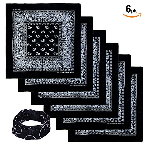 Basico Bandanas Value Pack 100% Cotton Paisley Head Wrap with Tube Face Mask/Headband (6pk- - Bandanas Black