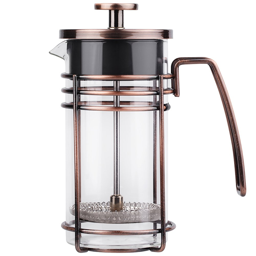 ZaKura French Press Coffee Maker, Tea Maker, Stainless Steel Filter, 12 Ounce 0.35 Liter, Copper