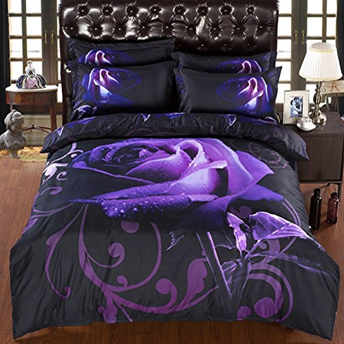 Comforter Sets 3D Luxury Flower Purple Rose Bedding 5-Piece ,Soft 3D Duvet Cover Sets with Comforter Twin/ Full/ Queen/ King/ California King ,Polyester (King-5PCS, Rose)