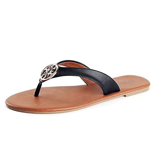359f99b9b6de ... SANDALUP Women s Flip Flops Casual Flat Sandals Black 05 popular stores  3fed7 8606a ...