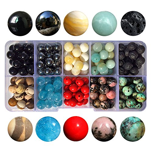 Chengmu 8mm Bead Kit Gemstone Beads for Jewelry Making 1 Box 10 Species Natural Black Onyx Amazonite Black Lava Round Loose Stone Beads Set for Bracelet Necklace With Elastic Cord Storage Box Color C (Cut White Agate)
