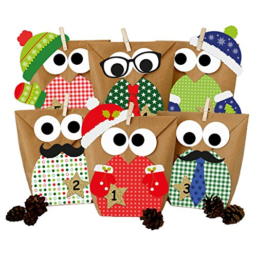 (Papierdrachen DIY Advent Calendar - Christmas Owls red with Additional Stickers – Advent Calendar for Making and Filling)