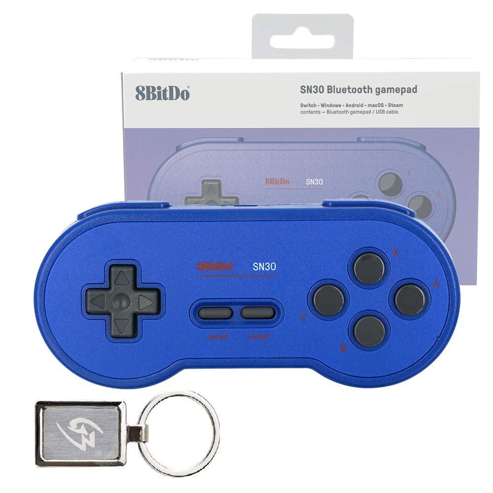 Mcbazel SN30 GP Blue Edition Bluetooth Gamepad Wireless Controller for Windows Android macOS Steam Nintendo Switch 80BK with Gam3Gear Keychain