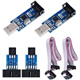 KeeYees 2pcs Downloader Programmer for USBASP for ISP with Cable and 10Pin to 6Pin Adapter Board for 51 for AVR Series Microc
