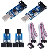 KeeYees 2pcs Downloader Programmer for USBASP for ISP with Cable and 10Pin to 6Pin Adapter Board for 51 for AVR Series…