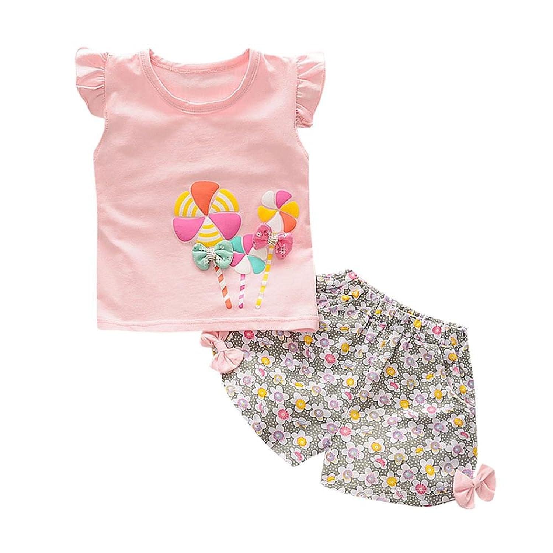 a375f53bc40d6 2PCS Bébé Fille Lolly T-shirt + Pantalon Court Floral