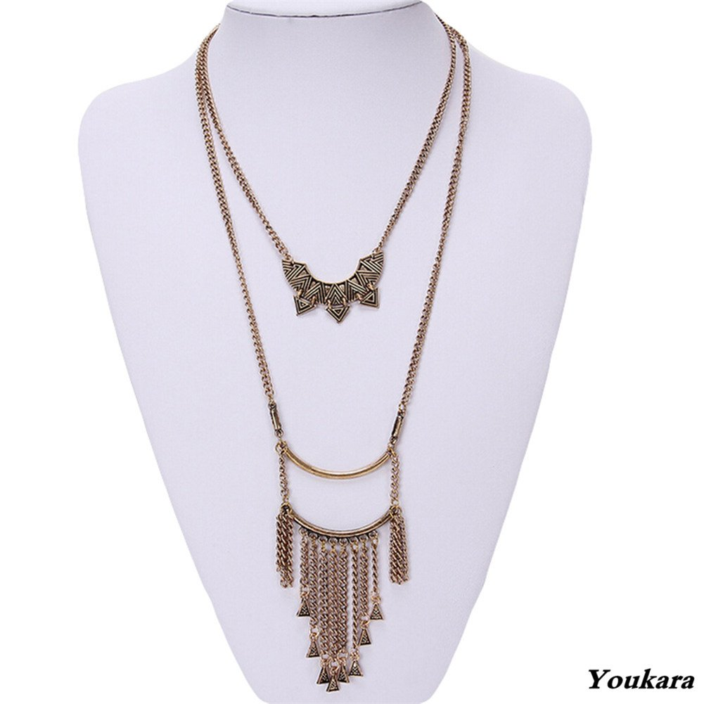 Youkara collana per donne e ragazze nappa collana triangolo geometrico maglione collana