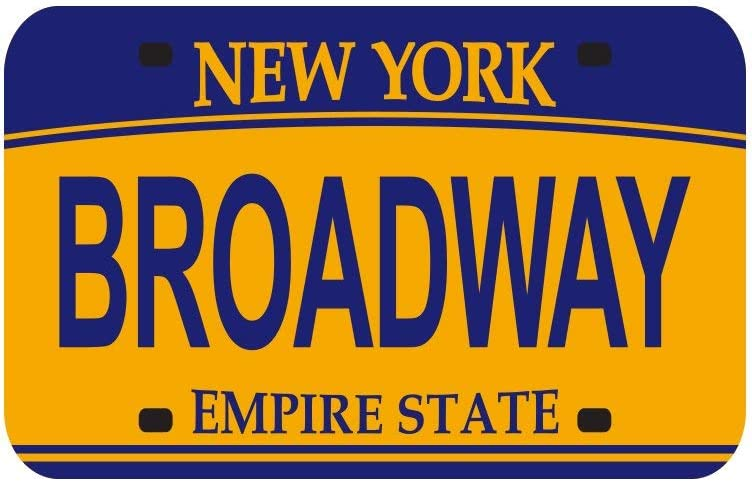 Magnet - Broadway New York License Plate Refrigerator Magnet - 6 Pack Empire State NYC Gift and Souvenir (Broadway)