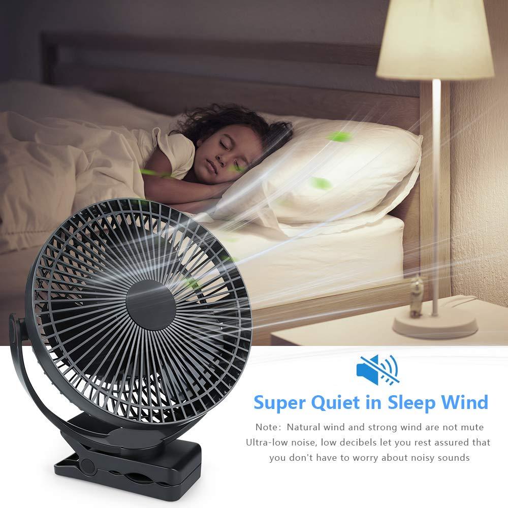 Laelr 8Clip sur ventilateur de bureau USB avec batterie 10000mAh et affichage de la puissance4 Vitesse de vent super fort Ventilateur de ventilation