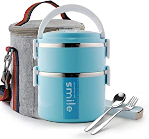 Themral Bento Lunch Box, Arderlive Stackable Insulated Stainless Steel Lunch Container With Portable Lunch Bag, Large Capacity with Microwarable Container & Spoon. (2 tier,blue)