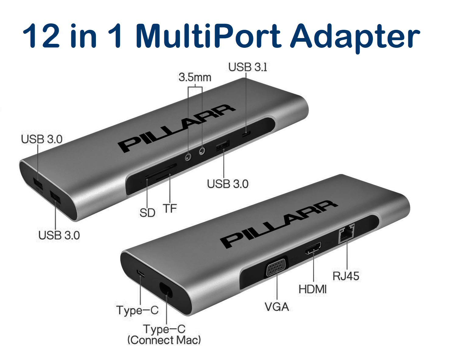 USB-C/Thunderbolt 3 Laptop Mini Docking Station with Power Delivery for MacBook Pro, Dell, HP - 12 in 1 MultiPort Hub Adapter - Aluminum Case in a Compact Design - Compatible with Windows and MacOS by Pillarr (Image #2)