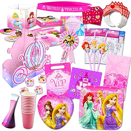 Disney Princess Party Supplies Ultimate Set (150 Pieces) -- Party Favors, Birthday Party Decorations, Plates, Cups, Napkins, Table Cover and More! -