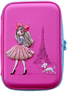 Pencil Case for Girls| Cute Preschool,Kindergarten and Elementary Pen Holder with Compartments|Todler Pink School Zipper Pouch(Girl in Paris)