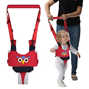 Handheld Baby Walking Harness for Kids, Adjustable Toddler Walking Assistant with Detachable Crotch, Safe Standing & Walk Learning Helper for 8+ Months Baby (Red-Owl)
