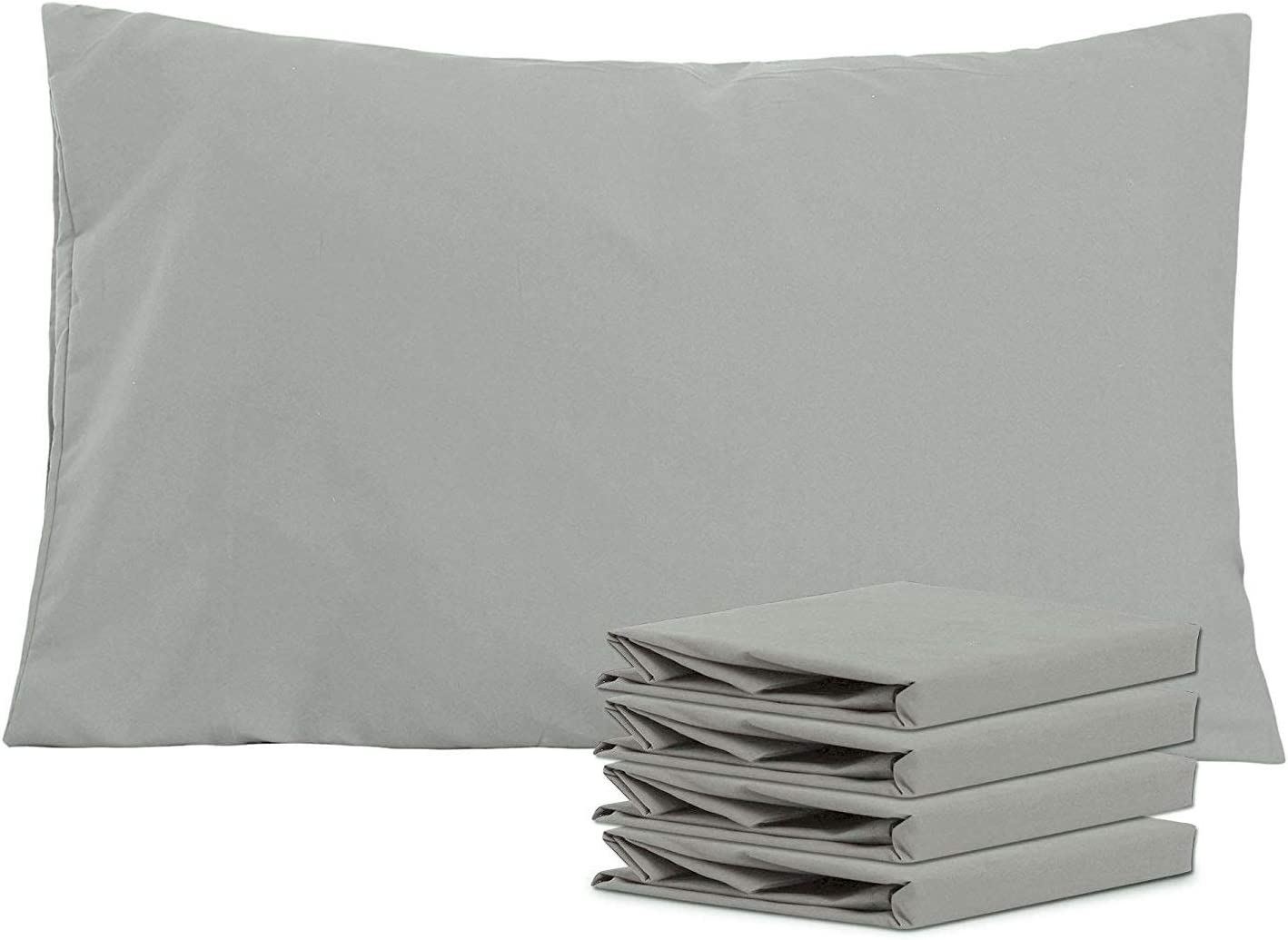 NTBAY Queen Pillowcases Set of 4, 100% Brushed Microfiber, Soft and Cozy, Wrinkle, Fade, Stain Resistant, Queen, Smoky Grey
