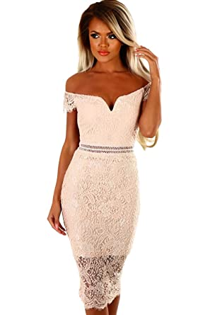 29c851b950159 shelovesclothing Women's New Off-Shoulder Sweet Heart Lace Bardot Stretch  Midi Dress (UK Small