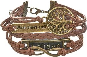 Loweryeah Bronze Life Tree Where Infinite Believe Retro Pu Leather Rope Hand Chain