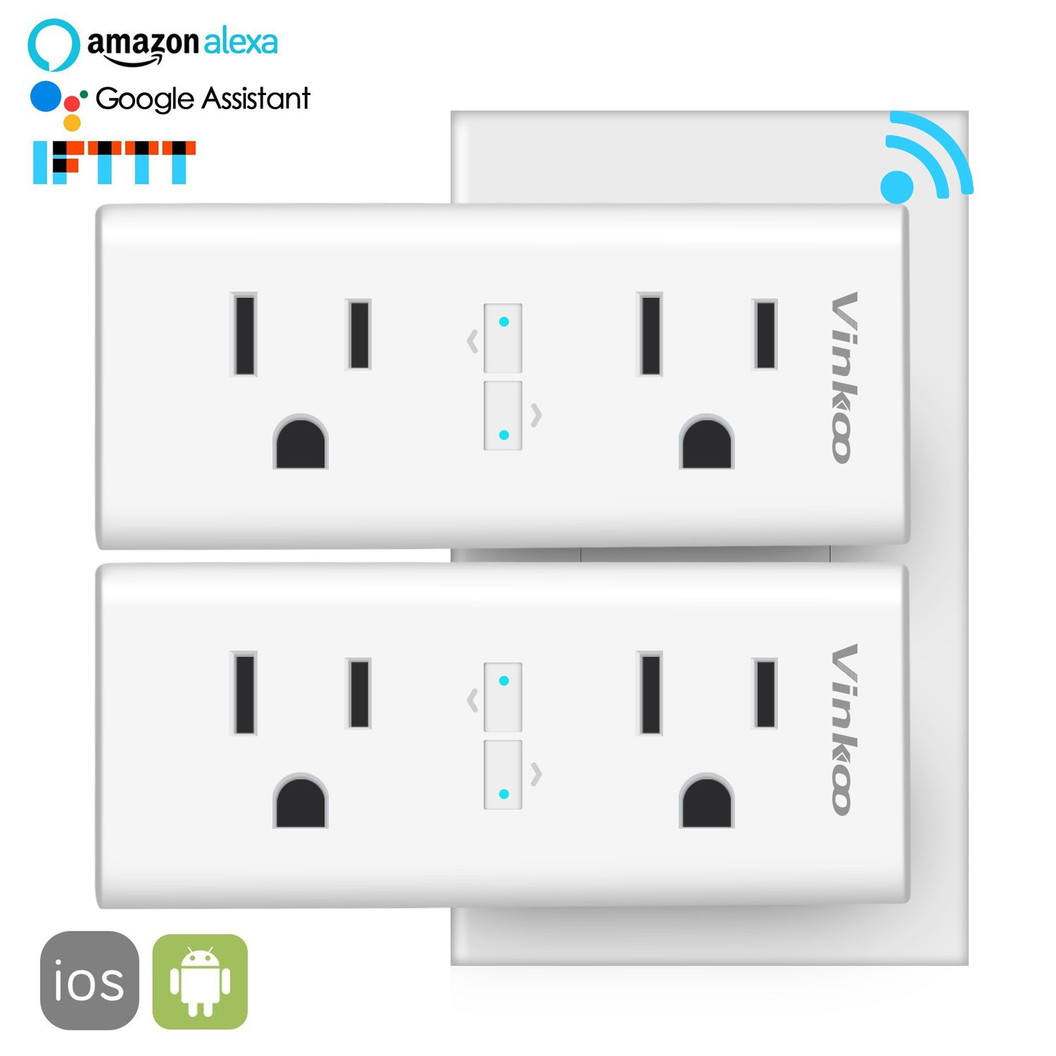 Smart Plug,VinKoo Mini Wifi Smart Dual Outlets 2 in 1 Smart Socket Remote Control Individually Works with Alexa Echo/Google Home/IFTTT,Energy Monitoring and Timing Function, No Hub Required - 2 Pack