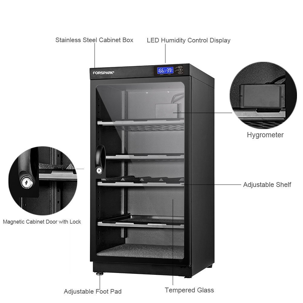 FORSPARK Camera Dehumidifying Dry Cabinet 8W 100L - Noiseless and Energy Saving - for Camera Lens and Electronic Equipment Storage by FORSPARK (Image #5)