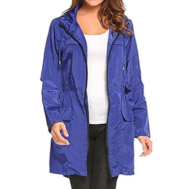 23577f7e2b Hibote Femmes Veste Imperméable Légère À Capuche Manteau De Pluie en Plein  Air Packaway Manteaux avec