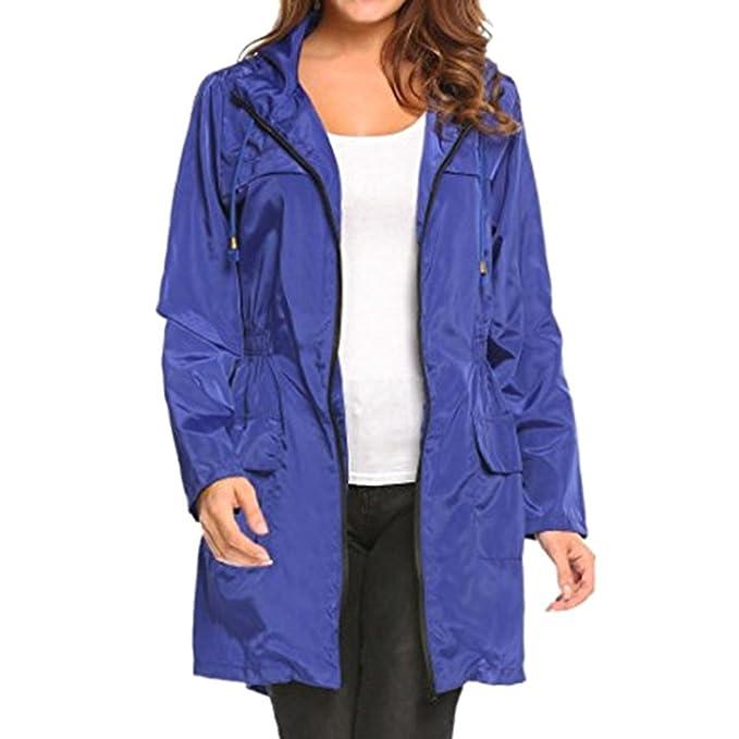 Mxssi Giacca Impermeabile da Pioggia per Esterno Leggera da Donna  Impermeabile con Cappuccio Antivento  Amazon.it  Abbigliamento bb73aaaf508d