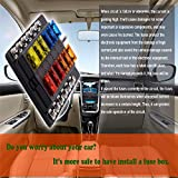 Fuse Box Holder,12 Way Blade Fuse Box Holder with LED Warning Light Kit for Car Boat Marine Trike [LED Indicator Fuse Holder + Protection Cover],Free Fuses forAutomotive Fuse Block