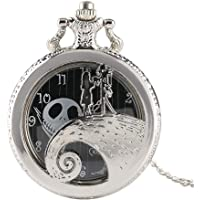 Silver Pocket Watch, Antique Engraved Quartz Pocket Watch, The Gift for Men Tim Button The Nightmare Before Christmas
