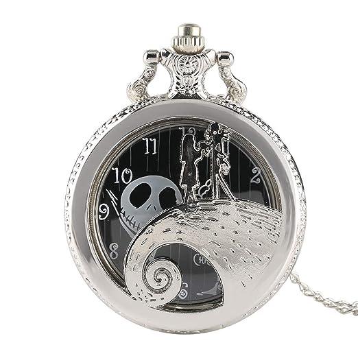The Nightmare Before Christmas Reloj de Bolsillo de Plata, Antqiue Reloj de Bolsillo de Cuarzo