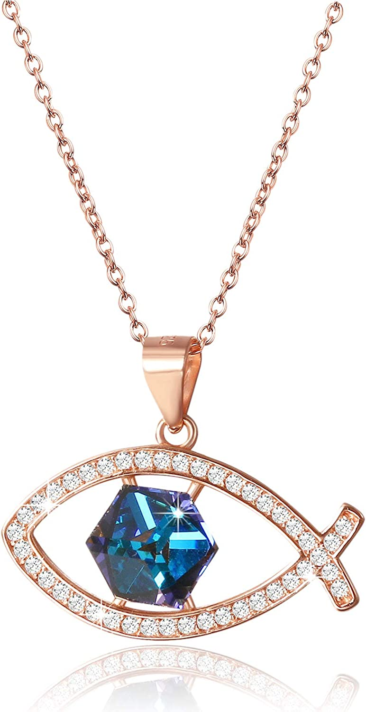 Aroncent Collar Mujer con Swarovski Cristal Azul Bermuda 925 Plata de Ley Esterlina Colgante Pez Jesús Creencia Cristiana Regalo Original para Pareja Novia Amor Fiesta, Oro Plata