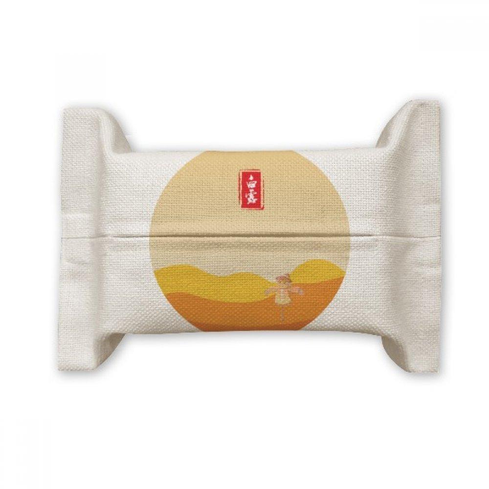 DIYthinker Circular White Dew Twenty Four Solar Term Cotton Linen Tissue Paper Cover Holder Storage Container Gift