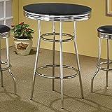 Coaster 50's Soda Fountain Black Contemporary Round Bar Table with Chrome Pedestal