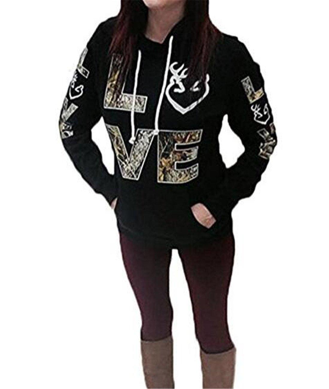 FCYOSO Women's Long Sleeve Love Printed Kangaroo Pocket Hoodie Sweatshirt Black Large