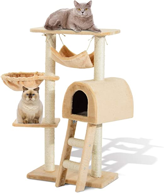 PawHut Árbol para Gatos Rascador con Poste para Arañar Nido Hamaca Plataforma Caseta Escalera Terciopelo Sisal Natural 55x30x100cm: Amazon.es: Jardín