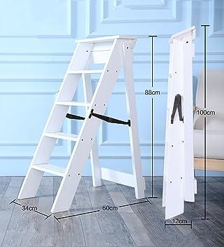 JU FU Inicio Escalera plegable de madera maciza - Escalera plegable de madera maciza Espesor interior Escaleras antideslizantes Cinco pasos Decoración Escalera pequeña multifunción, 3 colores @: Amazon.es: Bricolaje y herramientas
