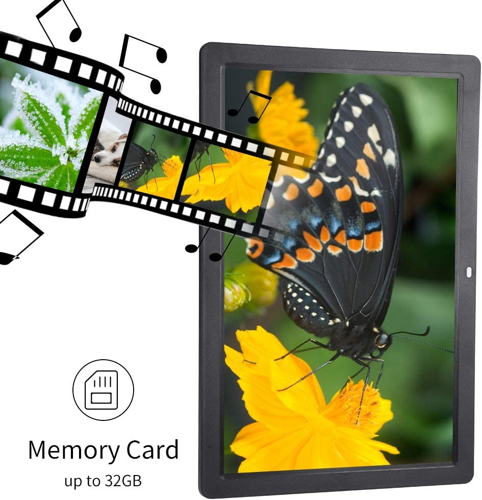 Acouto 17Inch 1440900HD Digital Photo Picture Frame AC 100-240V Photo Picture Frame Supported Picture Music Video Player with Remote Control Black