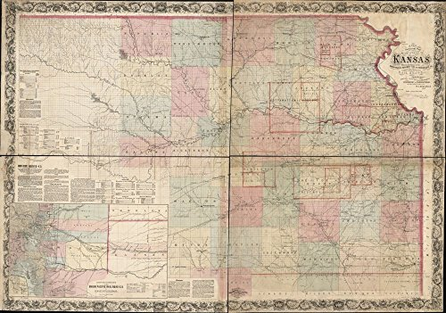 1867 Railroad map of RRs, Kansas A new sectional of the state of Kansas showing