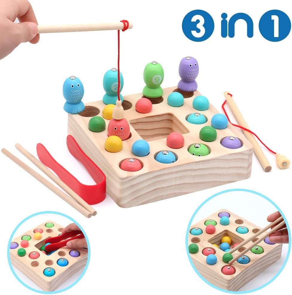 Symiu 3 in 1 Juguete de Pesca Magnética de Madera Mesa Puzzle Juegos de Palillos Educación Regalo para Niños 3 4 5 6 Años(25 PCS)