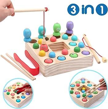Symiu Juguete de Pesca 3 IN 1 Montessori Magnética de Madera Mesa Puzzle Juegos de Palillos Educación Regalo para Niños 3 4 5 6 Años (25 PCS): Amazon.es: Juguetes y juegos