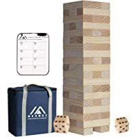 Megwoz Giant Tumble Tower, Premium Pine Wooden Toppling Tower Stacking Game with 2 Dices|Scoreboard| Carrying Bag, Backyard Block Game Set for Kids Adult Family- 56 Pieces (2Ft to Over 4.2Ft )