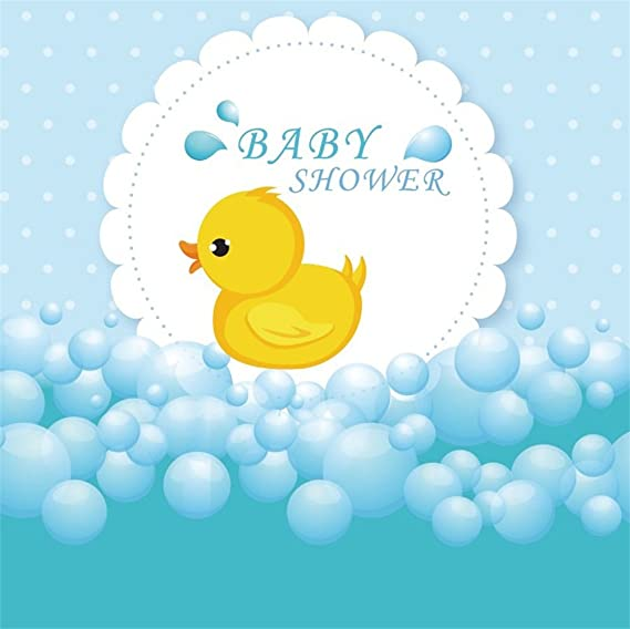 10x6.5ft Vinyl Small Yellow Duck Background Small Yellow Duck in The Water White Dots for The Baby Indoor Decoration Baby Shower Background Props LYHX025 for Party Decoration Birthday YouTube Videos S