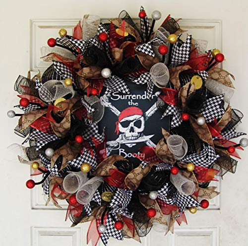 Gasparilla Pirate Festival, Surrender the Booty Pirate Skull Crossbones Skeleton Deco Mesh Front Door Wreath, Party Decoration Halloween Prop Decor, Porch Patio Outdoor]()