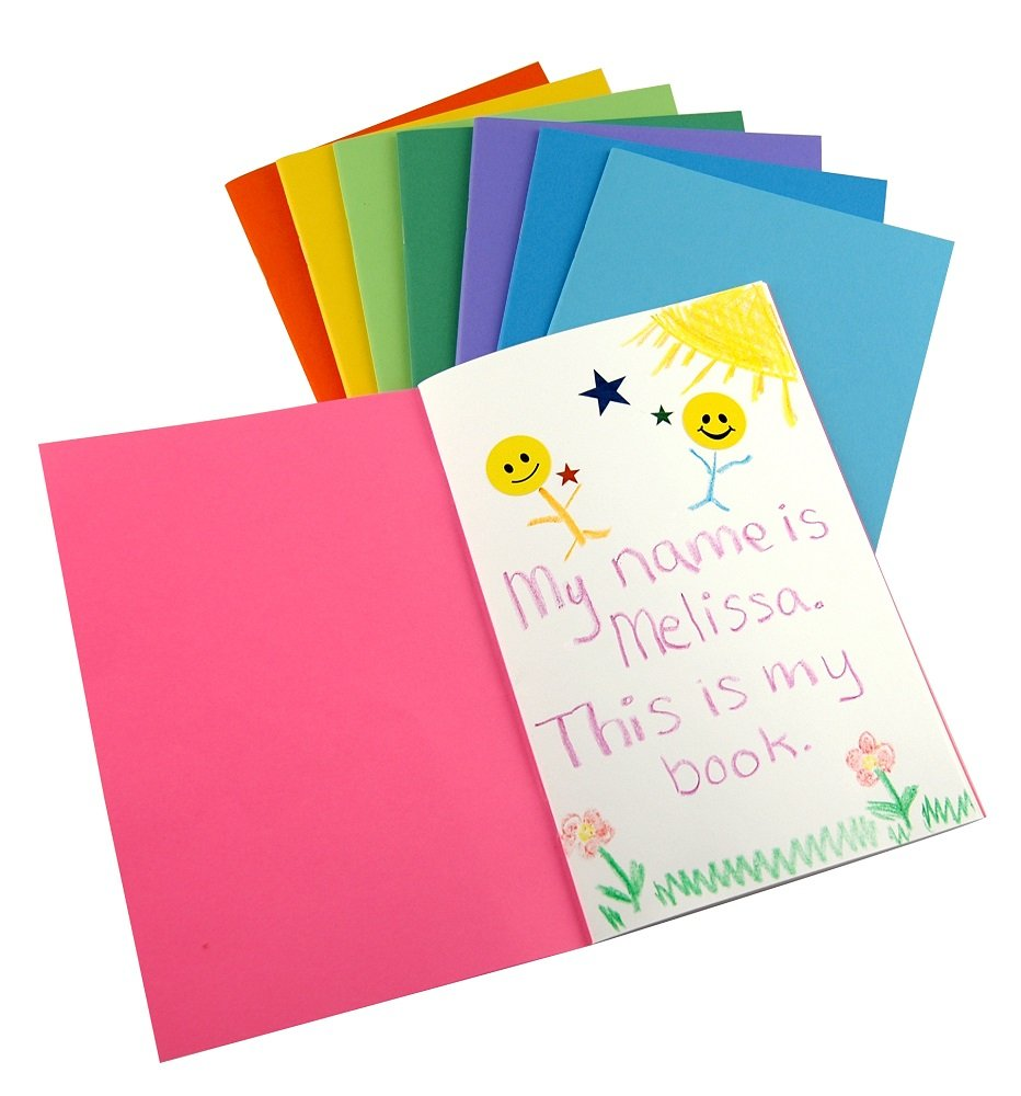 Hygloss Products Colorful Blank Books - Books for Journaling, Sketching, Writing & More - Great for Arts & Crafts - 6 Bright, Fun Colors - 8.5 x 11 Inches - 100 Pack by Hygloss