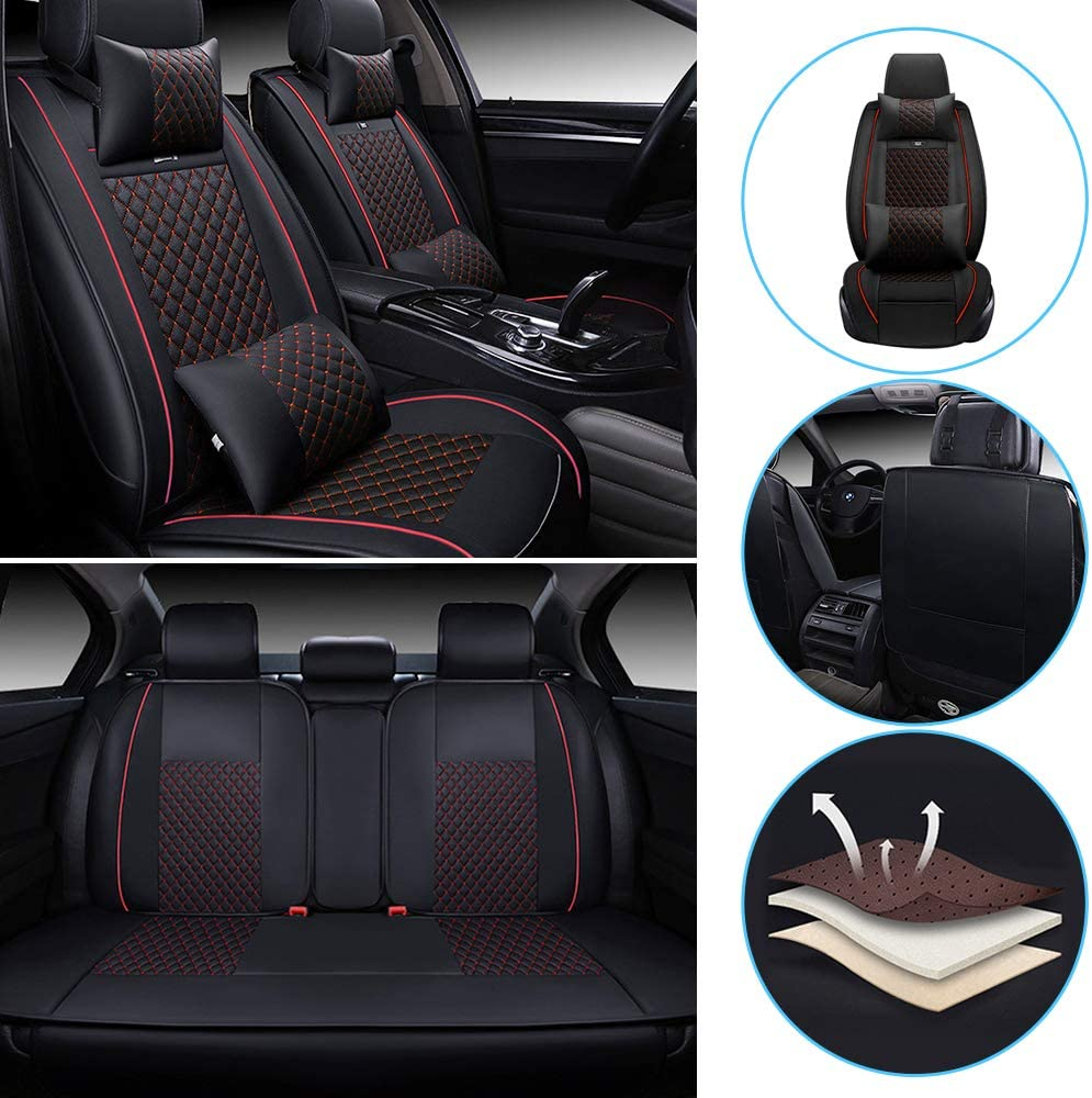 All Weather Custom Fit Seat Covers for Jeep Cherokee Renegade 5-Seat Full Protection Waterproof Car Seat Covers Ultra Comfort Luxury Package Plaid Black&red Full Set