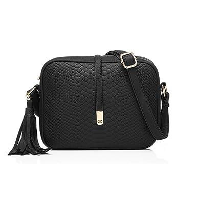 b49943dc4b Women Messenger Bags Ladies Leather Handbag Purse With Tassels Female  Crossbody Bag Black